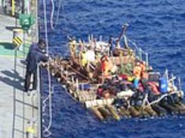 crew of kon-tiki fail where thor heyerdahl succeeded 70 years ago: balsa raft rescued after drifing in strong currents thousands of miles off chile