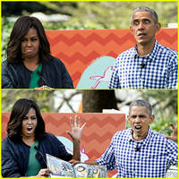 president & michelle obama make amazing faces during story time!