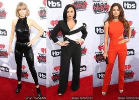 iheartradio awards 2016: see taylor swift, demi lovato, selena gomez's bold styles on red carpet