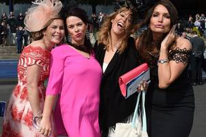 here come the girls: spectators celebrate ladies' day at scottish grand national
