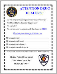 Skokie Cops Entice Drug Dealers to Report Competition