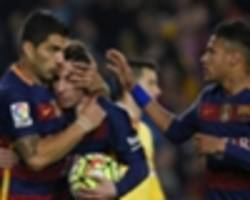 Barcelona 6-0 Sporting Gijon: Suarez scores four again as champions respond to Real and Atletico
