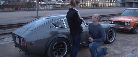 datsun man proposes to his girlfriend the horsepower way, is she a fair lady?