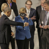President Obama and Chancellor Angela Merkel Experience Virtual Reality at ifm's Exhibit at Hannover Messe 2016, Germany