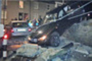 Police want to track down the driver who smashed this BMW through...