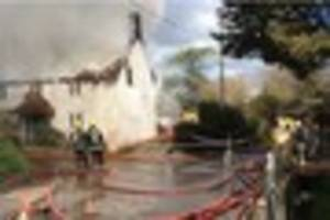 thatch blaze in alton pancras is tackled by 60 firefighters from...