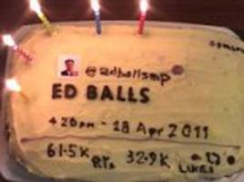 ed balls celebrates fifth anniversary of that tweet with a cake