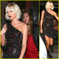 taylor swift & haim sisters step out for gigi hadid's birthday party!