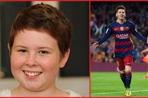 auldgirth youngster jojo kirkpatrick scores a game with barca megastar lionel messi