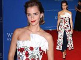 emma watson teams intricate floral gown with stylish tapered trousers as she leads the white house's british invasion at the star-studded 102nd correspondents' association dinner