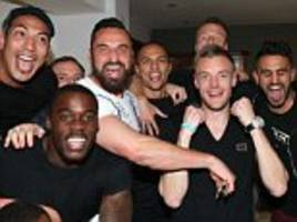 Leicester stars celebrate winning the title at Jamie Vardy's house after watching Chelsea earn dramatic draw against Tottenham