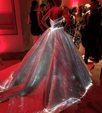 claire danes stuns in a glowing, fiber optic dress at met gala