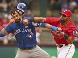 Rougned Odor PUNCHES Jose Bautista in Texas Rangers vs Toronto Blue Jays baseball match