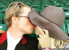 take a look at kaley cuoco and karl cook's sweet kissing photo!