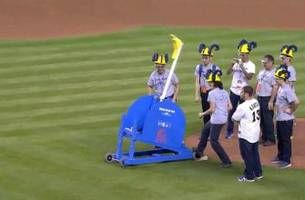 Students design catapult to throw out first pitch at Marlins game