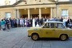 Iconic East German car transports Bath bride to Assembly Rooms...