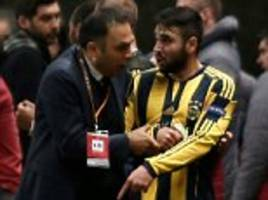 fenerbahce and turkey star volkan sen slapped with five-month european ban by uefa for shoving a referee