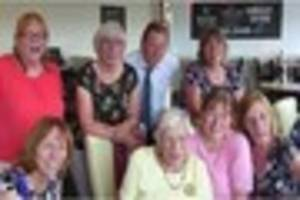dozens turn out to celebrate frieda's 100th birthday