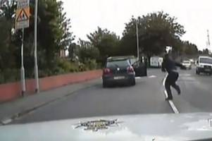 this terrifying police chase reached 60mph as it raced past schools in a busy city