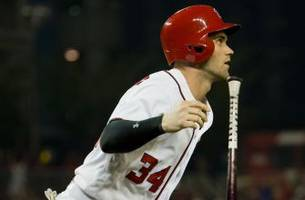 Bryce Harper takes long look at this moonshot he hit to end home run drought