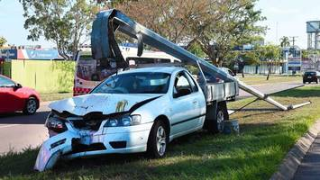 woman escapes serious injury in pole collision
