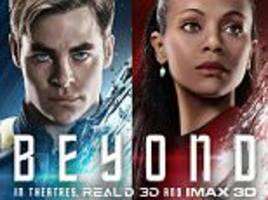 paramount releases posters of chris pine as kirk and zoe saldana as uhura as it ramps up excitement for star trek beyond