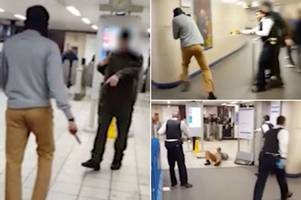 leytonstone stabbing trial: dramatic footage shows police tasering man three times after he 'slashed commuter's throat'
