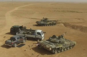 dramatic drone footage shows syrian army advancing toward islamic state capital