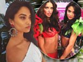 shanina shaik shares photo with fellow victoria's secret model adriana lima