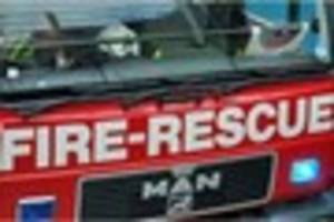 fire at ansford near castle cary: ambulance and red cross help...