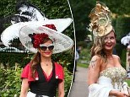 revellers descend on royal ascot in very flamboyant headgear