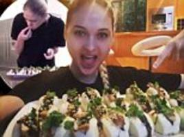 New Zealand competitive eater and model Nela Zisser demolishes 20 Chinese steamed buns in three minutes