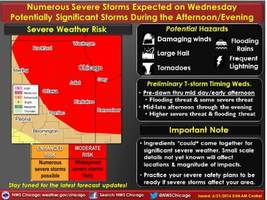 chance for large hail, tornadoes, flash flooding wednesday: hazardous weather outlook