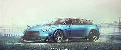 nissan gt-r wagon rendered, would make for an awesome ferrari gtc4lusso rival