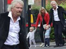 richard branson and his wife joan on babysitting duty as they take care of daughter holly's twins