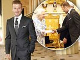 david beckham meets the queen at buckingham palace awards ceremony