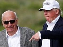 look who's coming to dinner: trump dines with rupert murdoch and wife jerry hall at posh scottish golf course – but the meal's on the house because the donald owns the place!