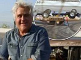 Jay Leno in car crash after driver, 80, loses control and flips over vehicle while racing with the former late night host in segment for his new show