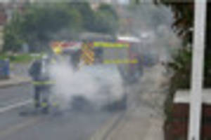 Car engine destroyed by  fire in Paignton