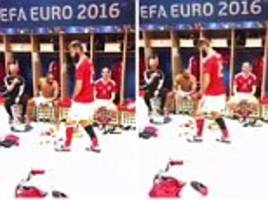 Joe Ledley leads celebrations with trademark dance moves after Wales beat Belgium 3-1 in Euro 2016 quarter-final