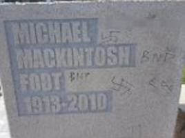 racist vandals deface plymouth monument to michael foot
