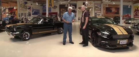 jay leno drives the old-school ford mustang shelby gt350-h