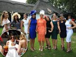 glamorous racegoers knock back pimms in the sun wearing some very revealing outfits on ladies day at newmarket races