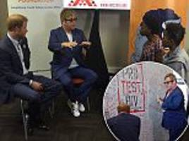 prince harry joins sir elton john at an aids conference as he continues princess diana's mission to raise awareness of hiv