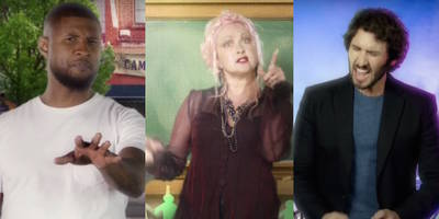 "usher, cyndi lauper, josh groban, more tell candidates to stop using their songs on ""last week tonight"": watch"