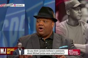 carmelo compliments mj's statement, but also shows a little frustration - 'speak for yourself'