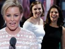 elizabeth banks likens the donald to her hunger games character while america ferrera and lena dunham criticize his stance on immigration and women's rights