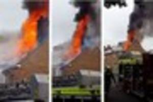 Shocking video as solar panels catch fire and blaze rages through...