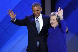 President Obama passes baton to Clinton, imploring nation to elect her