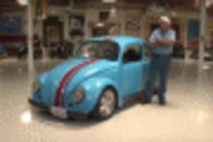 jay leno drives a rotary-powered volkswagen beetle
